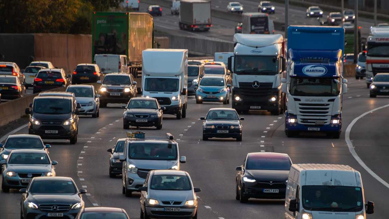 Evening heavy traffic on busiest British motorway M25 in London